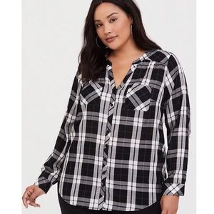 Torrid Black and White Plaid Blouse Size 14/16